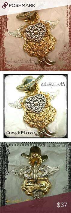 Adorable Vintage Cowgirl Angel Brooch Circa 1995 Multi-Tone (gold and silver) Cowgirl Angel Brooch was handcrafted and designed by Rosemary Nelson. Handstamped gold plate as shown in picture 3. This is a 4 inch tall Brooch and looks absolutely stunning on a blazer lapel, as a scarf pin, on a cowboy hat or whatever else you want to dress up. This is a precious piece. PRICE IS FIRM.   Smoke free home. Open to reasonable offers unless marked as firm.  Please no trades or low balls. Happy…