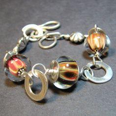 Sterling silver  boro bead bracelet handmade links by SundaezChild, $35.00