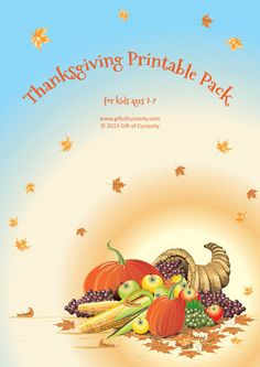 Thanksgiving Printable Pack with 60 activities for kids 2-7. Activities work on shapes and sizes, colors, same vs. different, puzzles, mazes, fine motor, math, and literacy skills.  || Gift of Curiosity