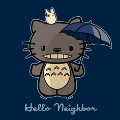 """Hello Neighbor"" Hello Kitty/Totoro Tee by fishbiscuit"
