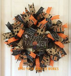 Halloween Wreath, Trick or Treat Wreath, Fall Wreath, Autumn Wreath, Paper Mesh Wreath, Deco Mesh Wreath, Halloween Decoration, Halloween by DecoMeshWreathWorks on Etsy