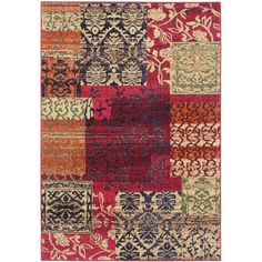 Anchor your living room seating group or define space in the den with this artfully loomed rug, featuring an exotic patchwork motif for eye-catching appeal.
