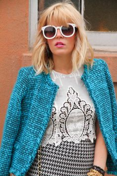 turquoise boucle // ivory lace // houndstooth