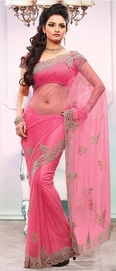 #Pink Net #Saree With Blouse @ $232.01