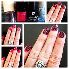 Hot pink leopard nails, step by step