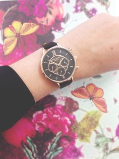 Our popular Chrono Detail watch is now available with a black dial and rose gold detailing <3