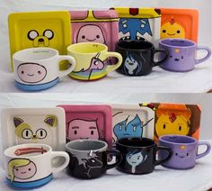 Adventure Time Finn Jake Flame Princess Marceline Ice King Princess Bubblegum LSP Rainicorn Mocha Cup Tea Cup Coffee Mug Marceline, Cartoon Adventure Time, Adventure Time Finn, Ice Queen Adventure Time, Abenteuerzeit Mit Finn Und Jake, Finn Jake, Cartoon Network, Adveture Time, Flame Princess