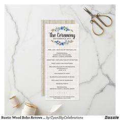Shop Rustic Wood Boho Arrows & Floral Wedding Program created by CyanSkyCelebrations. Tribal Wedding, Boho Wedding, Floral Wedding, Rustic Wedding, Unique Wedding Programs, Wedding Ceremony Programs, Watercolor Wedding, Floral Watercolor, Cobalt Blue Weddings