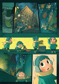 This short comic is about weeta and a little girl in the new year's night. Comic Book Layout, Comic Books Art, Comic Art, Book Art, Storyboard, Children's Comics, Comics Story, Grafic Novel, Character Art