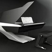 Os designers Cyrille Vayson de Pradenne e Sophie Gazeau criaram um piano feito de fibra de carbono.