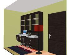 Proyecto despacho con cama abatible y estanterías, todo un lujo para pequeños espacios creado por Mobles Cambrils tu tienda de muebles en Cambrils, Tarragona.