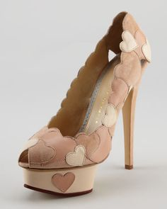Love Me Heart-Applique Pump, Blush by Charlotte Olympia at Neiman Marcus.