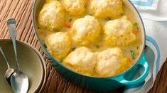 Quick Chicken and Dumplings recipe from Betty Crocker Bisquick Dumplings Recipe, Homemade Dumplings, Bisquick Recipes, Dumpling Recipe, Dumpling Soup, Making Dumplings, Vegan Dumplings, Steamed Dumplings, Betty Crocker
