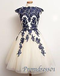 #promdress01 prom dresses -elegant dark blue lace white organza knee length vintage prom dress for teens, ball gown, cap sleeve evening dress