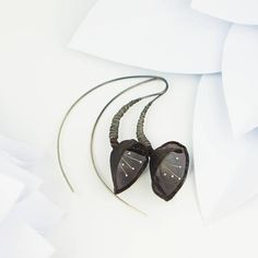 Black jewelry black bell earrings unique gift nature
