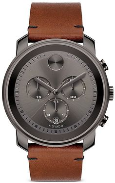 Movado Bold Bold Gunmetal Steel and Leather Strap Watch Men's Brown Men's Watches, Luxury Watches, Cool Watches, Fashion Watches, Watches For Men, Jewelry Watches, Movado Mens Watches, Men's Fashion, Mens Watches Leather