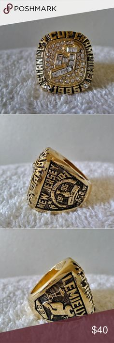 New Jersey Devils 1995 Championship Ring New Jersey Devils 1995 Collectible Championship Ring Size 11. 18kt gold plated with cz diamonds Accessories Jewelry