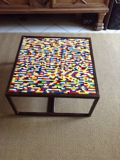 I used the unused Lego's of my son with a table found in a second hand shop to make this LEGO coffee table MO NEEDS THIS