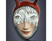 Her Bad Girl Hat - Mask Sculpture, Ceramic Face Pendant, Small Devil Mask, Art to Wear