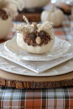 Whimsical Fall Table with Pumpkin Owls | homeiswheretheboatis.net #plaid #tablescape