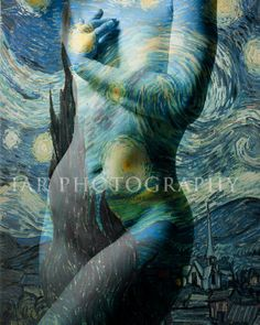 "VG101 - Starry Night - Paint Van Gogh - Fine Art Nude Photo Print 8""x10"