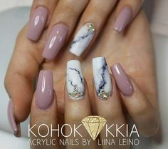 On this list of 80 stylish acrylic nail designs, you will find everything starting from confectionary nails to glittering designs to marble effect ones. Cute Acrylic Nails, Acrylic Nail Designs, Fun Nails, Nail Art Designs, Nails Design, Acrylic Nails Almond Classy, Tumblr Acrylic Nails, Marble Nail Designs, Nails Ideias