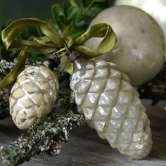 Glass pine cone ornaments, I can't resist them. I have enough to totally decorate a tree with just pine cones!