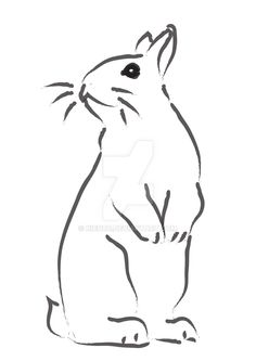 Illustrator line drawing for the VRRA rabbit sanctuary. Please don't use because this makes money for the sanctuary bunnies. Bunny on hind legs Bunny Art, Cute Bunny, Rabbit Illustration, Pyrography, Line Drawing, Bunnies, Stencils, Deviantart, Legs