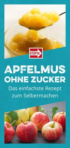 Make applesauce yourself: simple recipe without sugar - Utopia.de - Make applesauce yourself: recipe without sugar. Recycle old apples and boil them down to applesauce - Easy Healthy Recipes, Healthy Snacks, Snack Recipes, Easy Meals, Homemade Donuts, Pumpkin Spice Cupcakes, Food Items, Tofu, Cravings