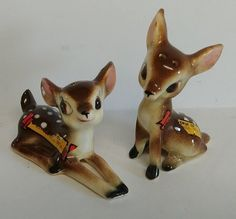 Vintage Kitschy Deer Mini Fawns Souvenir Bambi Salt & Pepper Shakers Set, Japan