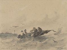 Vier mannen in een roeiboot, Albertus van Beest, 1830 - 1860