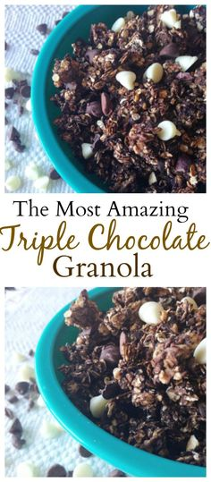 #healthy Triple Chocolate Granola is one of the best granola recipes ever! #vegan #glutenfree