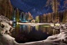 Domek, Zima, Las, Jezioro, Gwiazdy, Noc