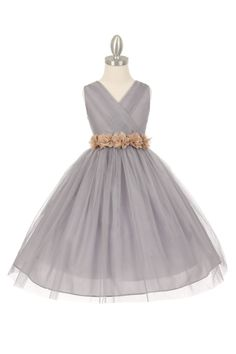 Girls Dress Style 1220 - SILVER Dress with 14 Sash Options  A truly amazing and timeless dress that everyone will love. This sleeveless style dress is perfect for an upcoming wedding or special event. Take note of the intricate pleating throughout the bodice. The dress is youthful enough for younger children but sophisticated enough for junior bridesmaids.  http://www.flowergirldressforless.com/mm5/merchant.mvc?Screen=PROD&Product_Code=CC_1220SVCH&Store_Code=Flower-Girl&Category_Co..