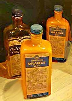 Bottles of orange juice and cod-liver oil, distributed to pre-school children in Britain during WW2 and still available in the 1950's when Mum fostered babies.