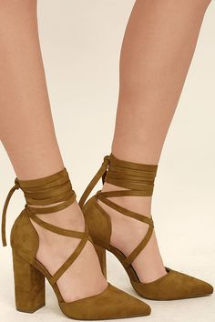 2b3c73a4450 Brigitte Tan Suede Lace-Up Heels