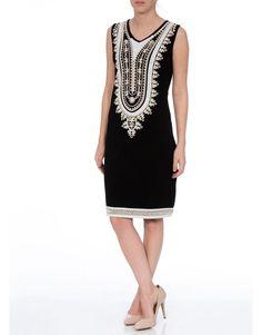 Sequin And Tape Work Sleeveless Jersey Midi Dress