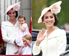 For the Queen's Birthday parade, also known as Trooping the Colour, the Duchess brought back the custom Alexander McQueen coatdress first seen at Princess Charlotte's christening. This is a tough one because the event precludes full length photos.