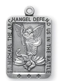 Sterling Silver Square St. Michael Medal by HMH | Catholic Shopping .com