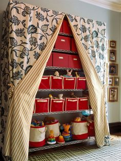 Toys D On Metal Shelving Covered With Pretty Drapery Fabric Kids Storage Craft Room