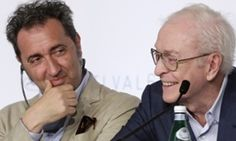 Caine and the director, Paolo Sorrentino, at the press conference.