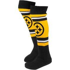 Pittsburgh Steelers Ladies Knit Knee Slipper Socks - Gold/Black