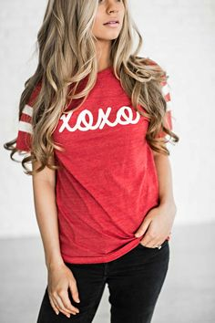 valentines, valentines apparel, valentines shirt, fashion, style, blonde, ootd, shop, jessakae, wavy hair, hair, womens fashion, womens style, valentines day