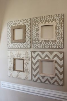 Set of 4-8x8 Distressed Wood Picture Frames in Vintage Neutrals, from etsy. Cute but would never pay what they are asking. I think I could totally make these!