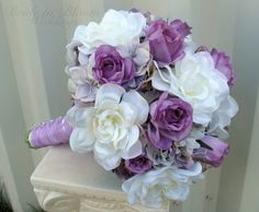 White gardenia lavender rose Wedding by BrideinBloomWeddings, $125.00