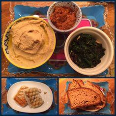 #humus,sundried tomatoes&feta cheese dip,spinaches pine nuts&raisin,grilled #halloumi cheese, #poilâne bread.. #yummi