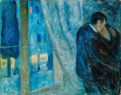 """Kiss by the window"". 1892. Munch. Veredas da Língua: CARLOS PENA FILHO – O POETA DO AZUL"