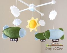 Baby Mobile  Baby Crib Mobile  Blimp Mobile  by dropsofcolorshop, $80.00