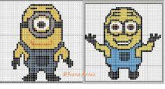 Minion charts - there are more on this site - usable for cross stich - for  knitting and crochet too (?) ---- ENCANTOS EM PONTO CRUZ: Meu Malvado Favorito