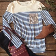 New Stripe & Sequin Pocket Top $34 Med & Large Nora Skinny Jeans $74 Sizes 6-12 Camel Booties $65 7.5,9 Crossbody Messenger Bag $29 #ootd #fashion #boutique #musthave #newarrivals #cozy #causal #shopkeyboutique #shop #instafashion #instabuy #winter #cu